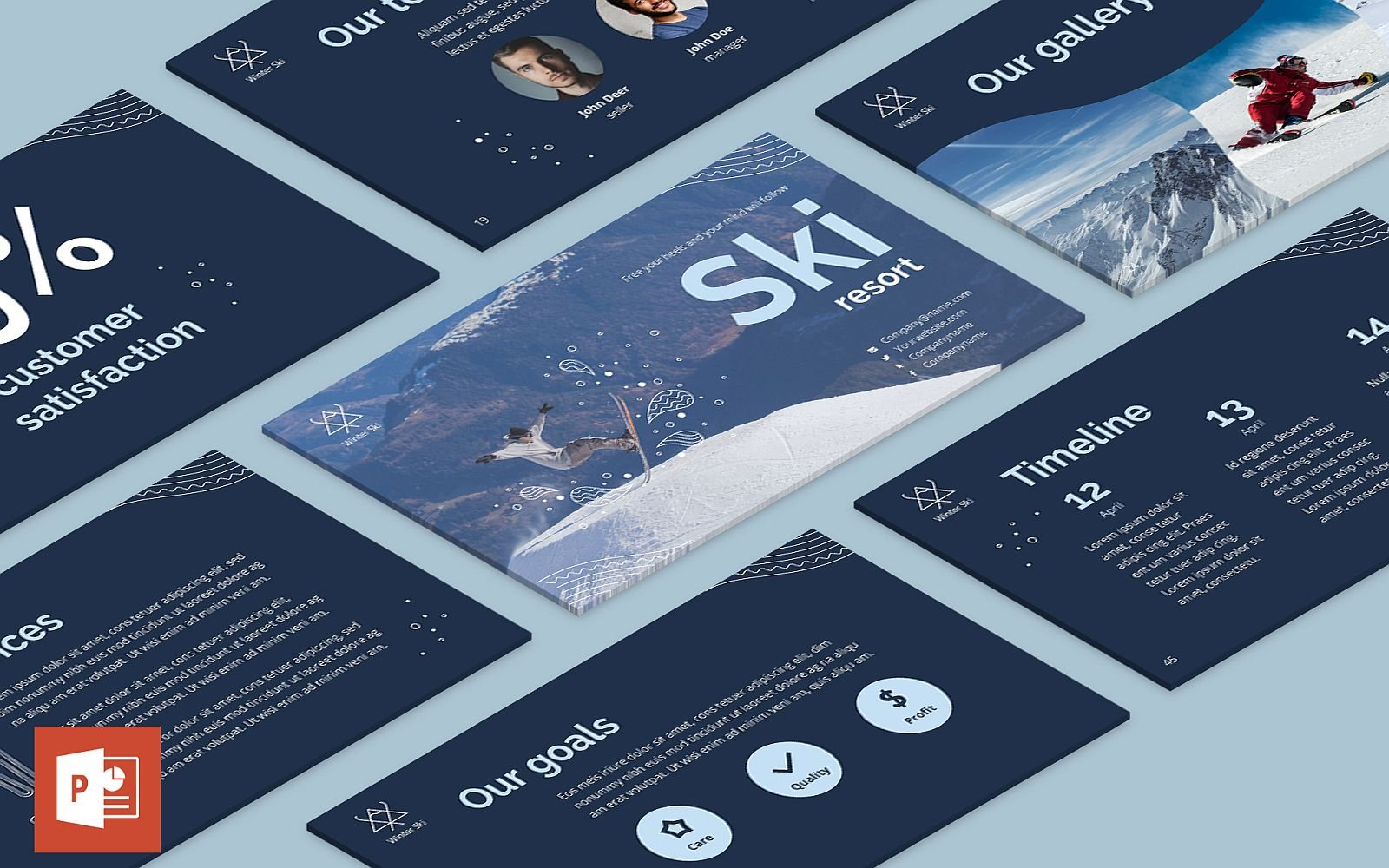 "Plantilla PowerPoint ""Ski Resort Presentation"" #126359"