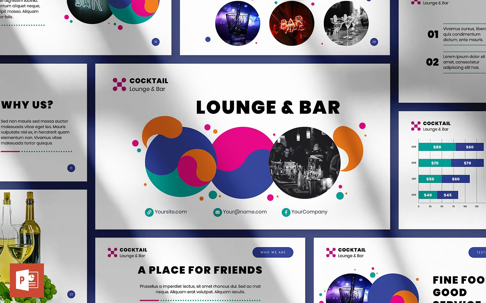 Prémium Lounge Bar Presentation PowerPoint sablon 126357