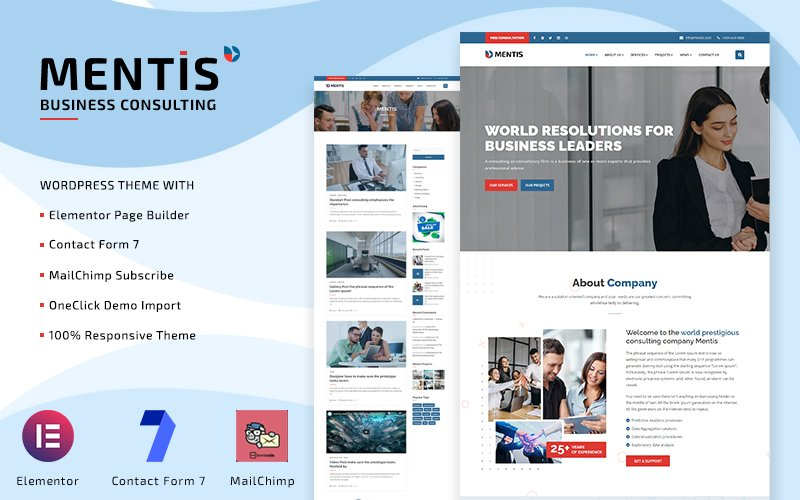 """Mentis - Business Consulting Elementor"" Responsive WordPress thema №126442"