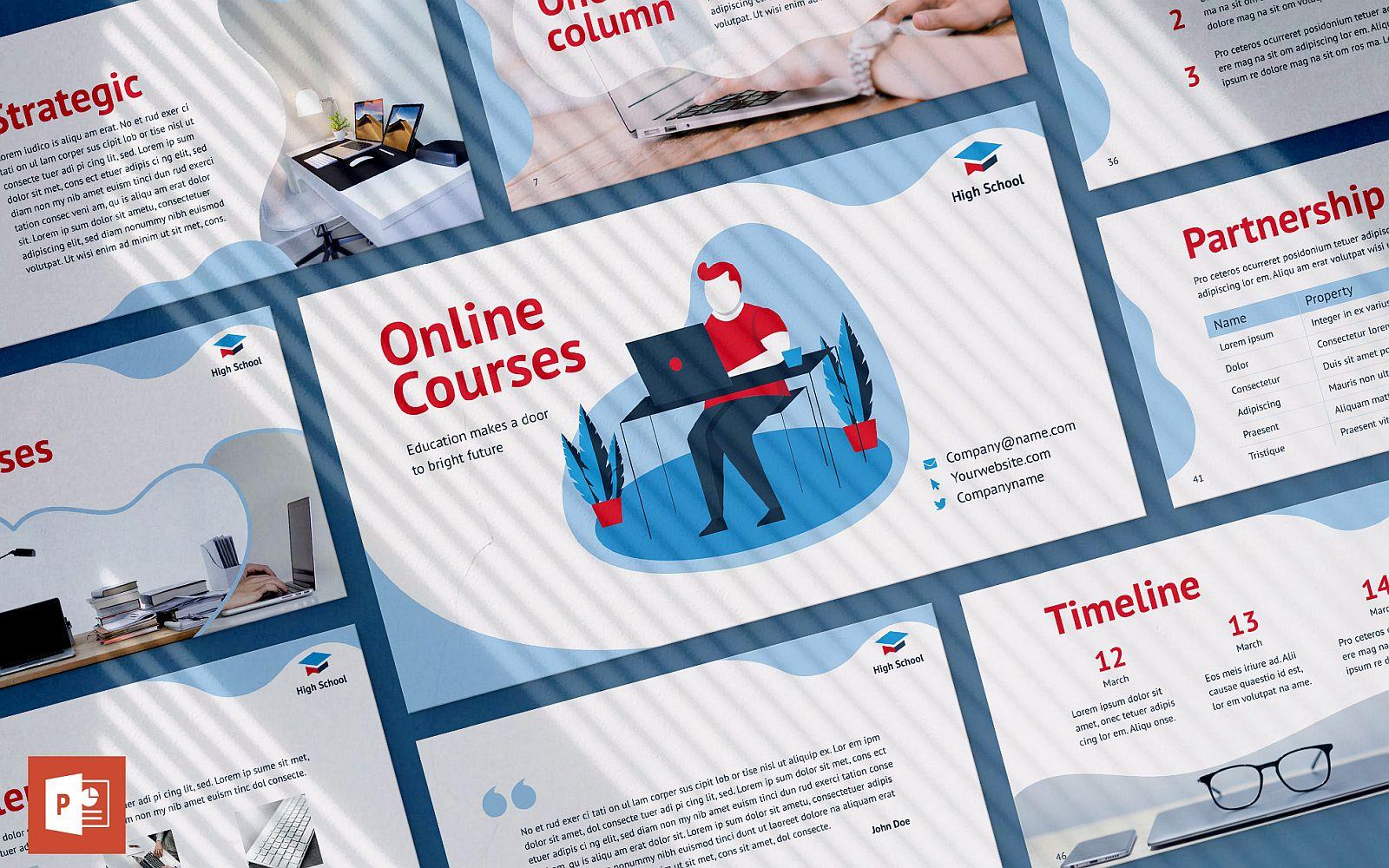 Prémium Online Courses Presentation PowerPoint sablon 126403