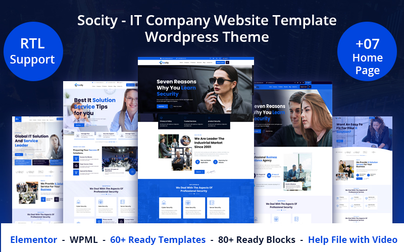 """Socity - IT Company Website Template"" Responsive WordPress thema №126439"