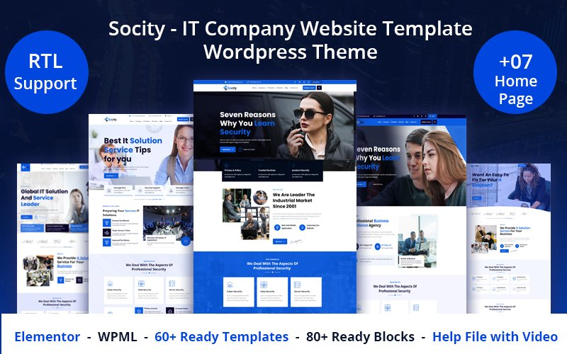 """Socity - IT Company Website Template"" thème WordPress adaptatif #126439"