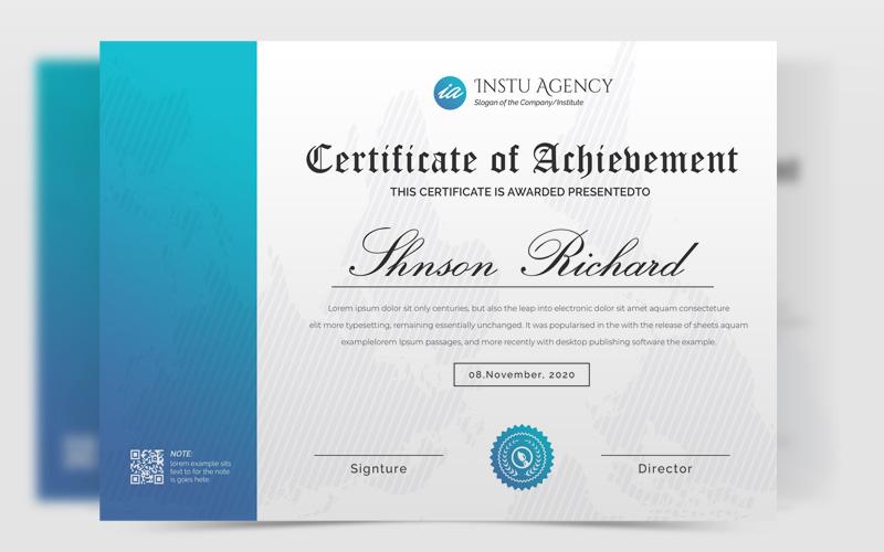 Szablon certyfikatu Cyan Certificate of Achievement #126430