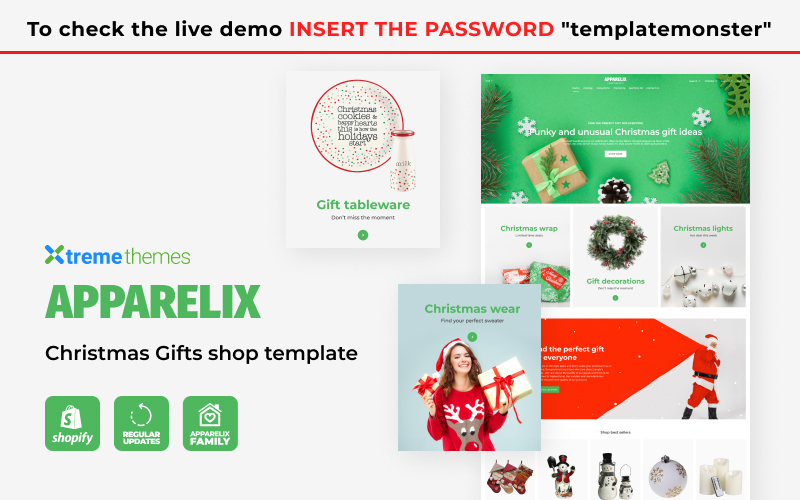 """Tema Shopify """"Apparelix Christmas Gifts Store"""" #126446"""