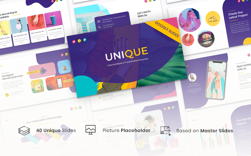 """Unique - Colorful Modern Template"" - Google Slides №126426"