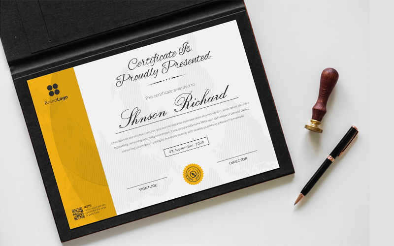 Yellow and Black Waves Design Certificate Template 126431