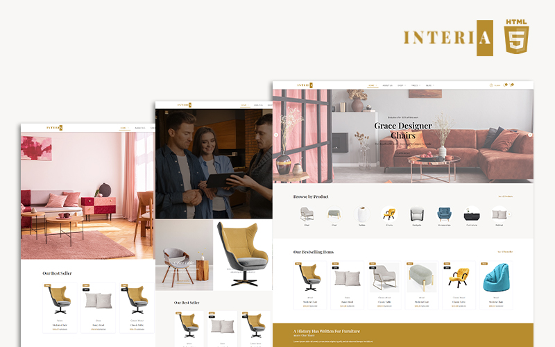 """Interia - Furniture Template"" - адаптивний Шаблон сайту №126722"