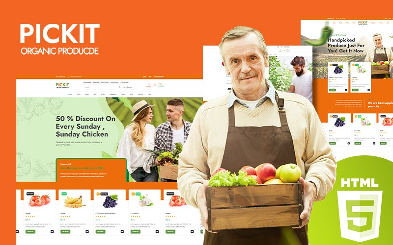 Responsivt Pickit - Organic Food Hemsidemall #126726
