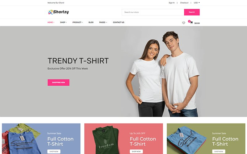 """Shartzy - T-Shirt Store Responsive"" 响应式Shopify模板 #126725"