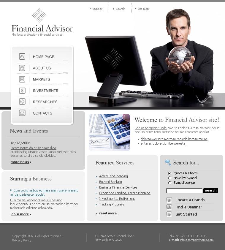 Financial Advisor Website Template 12731