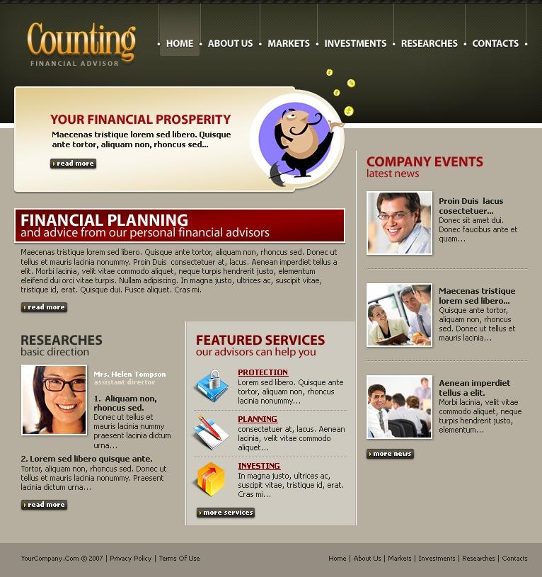 Financial Advisor Website Template 12969