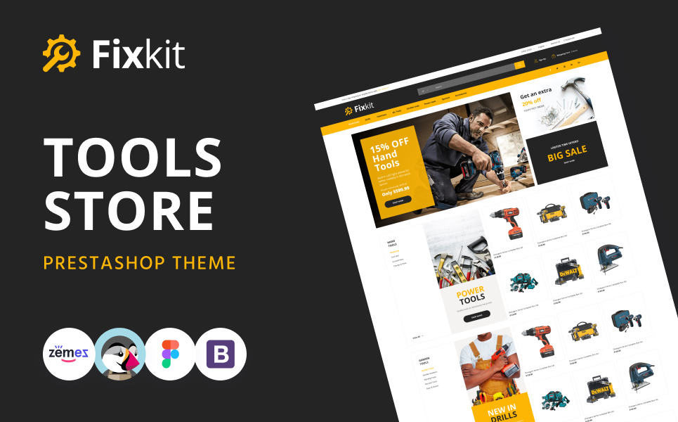Responsive Fixkit - Tools Store Online Template Prestashop #130092