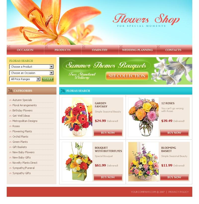 Flower Shop Website Template #13130