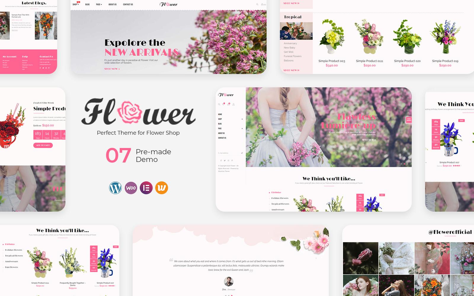"""Flower - Perfect for Flower Shop"" thème WooCommerce adaptatif #136134"