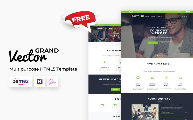 Grand Vector - Free Multipurpose Responsive Website Template