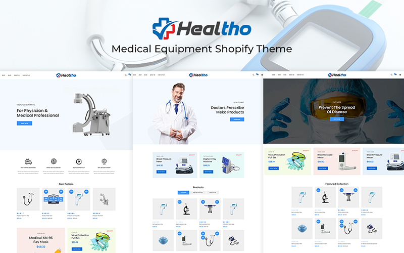 """Healtho - Medical Equipment"" 响应式Shopify模板 #136123"