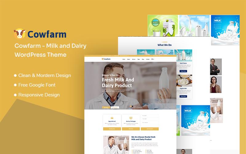 "Modello WordPress Responsive #136124 ""Cowfarm - Milk and Dairy Responsive"""