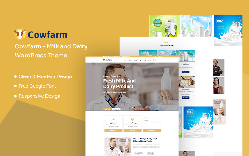 "Tema De WordPress ""Cowfarm - Milk and Dairy Responsive"" #136124"