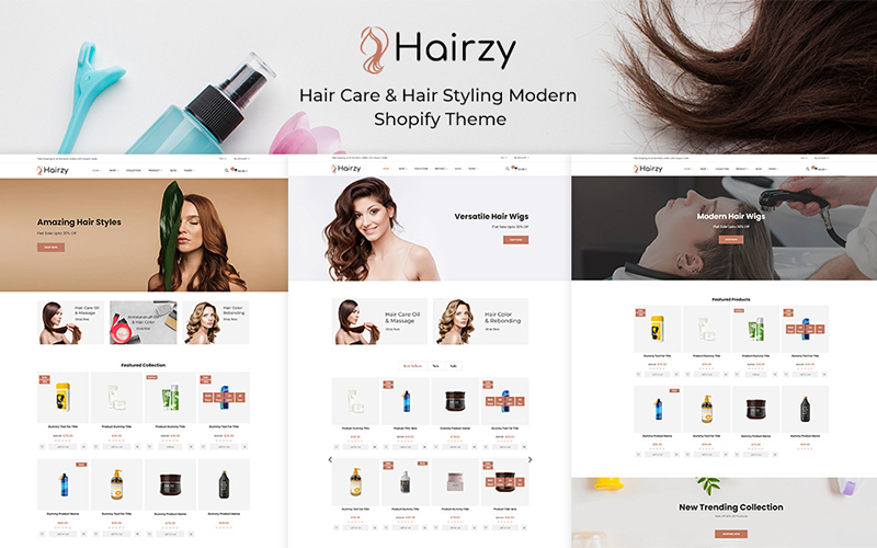 "Tema Shopify ""Hairzy - Hair Care And Hair Styling Modern"" #136132"