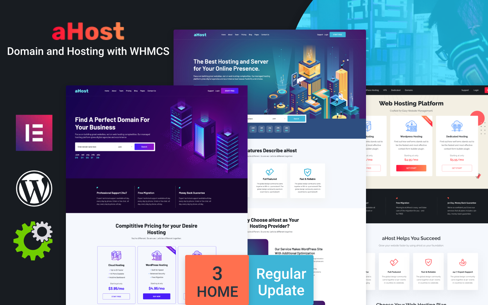"""aHost - Domain and Hosting theme with WHMCS Support"" WordPress模板 #136547"