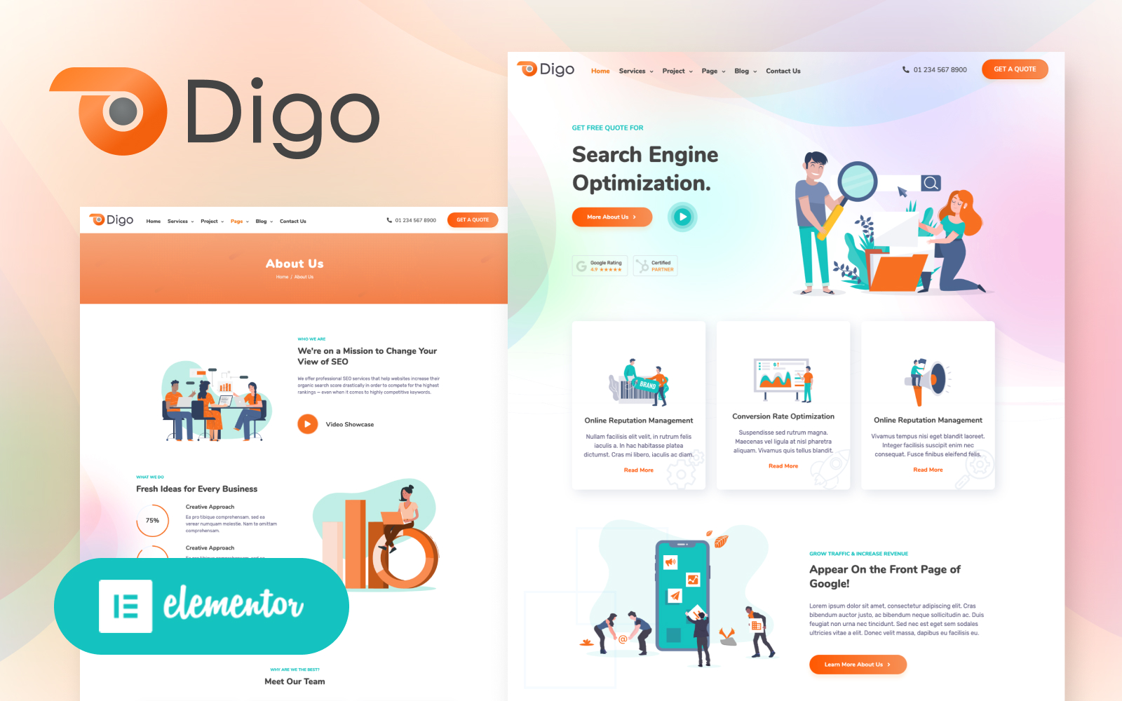 """Digo - SEO and Digital Marketing Agency Elementor"" - адаптивний WordPress шаблон №136552"