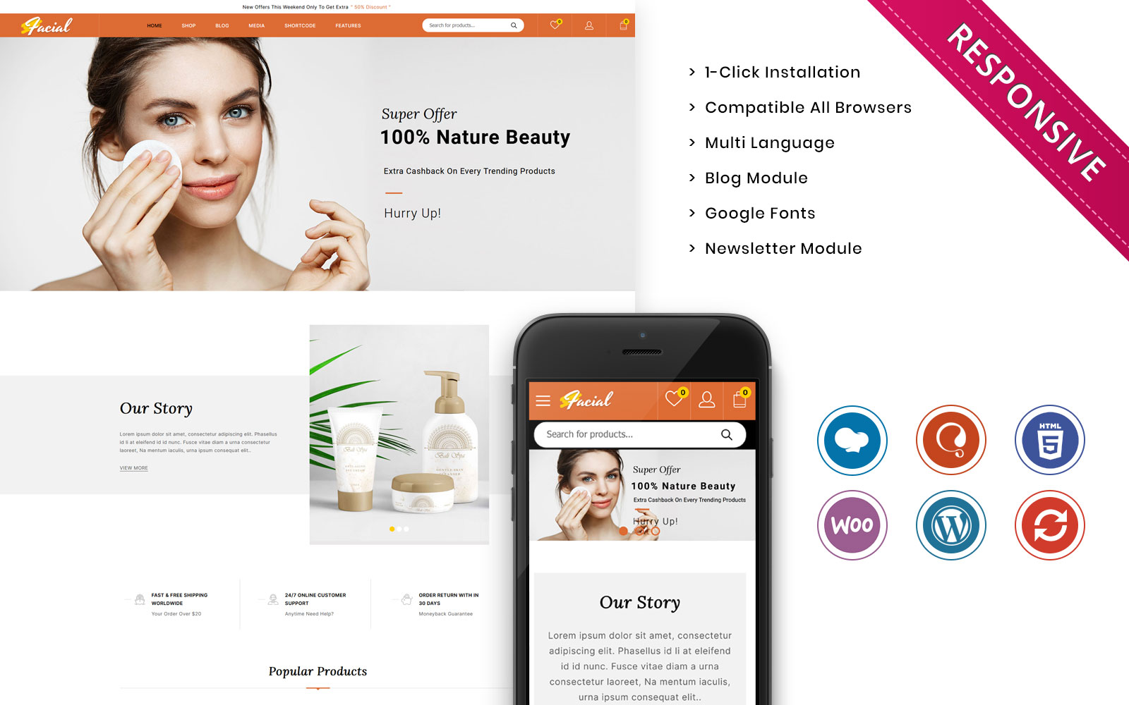 """""""Facial - The Ladies Cosmetic Store"""" Responsive WooCommerce Thema №136544"""