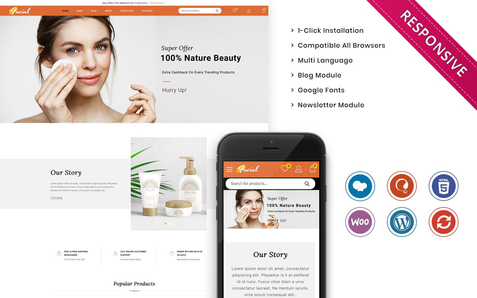 Reszponzív Facial - The Ladies Cosmetic Store WooCommerce sablon 136544