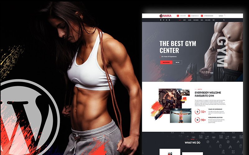Reszponzív Naika Fitness Gym Shop WordPress sablon 136549
