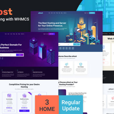 "WordPress шаблон ""aHost - Domain and Hosting theme with WHMCS Support WordPress Theme"" #136547"