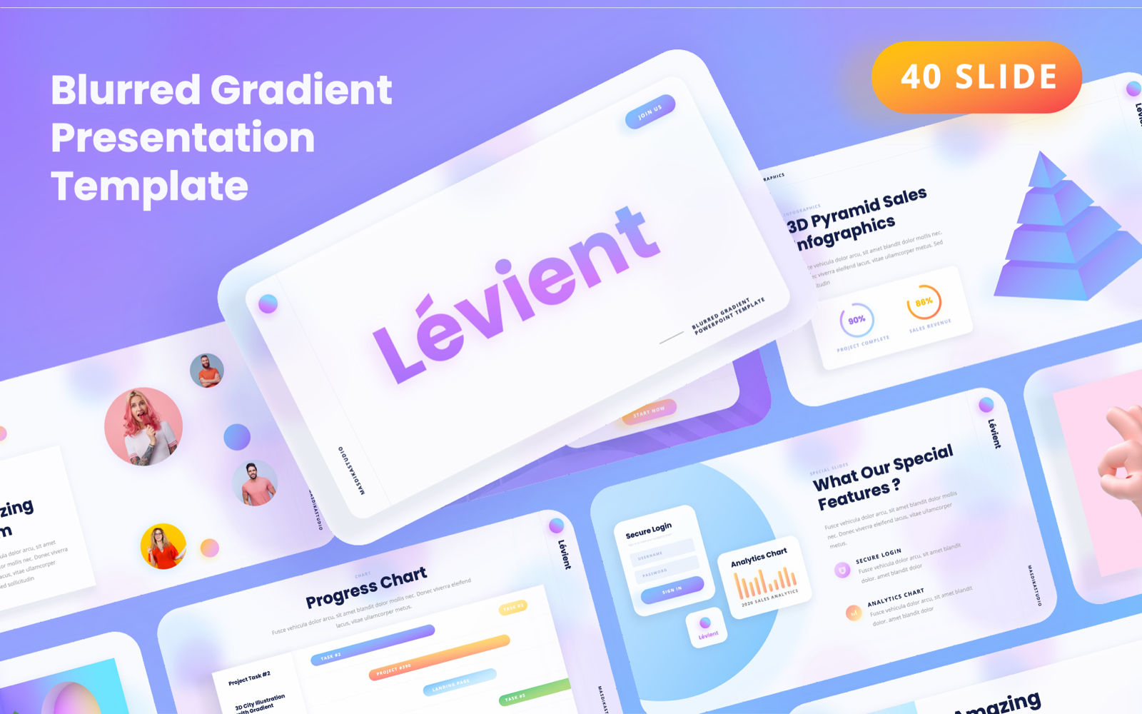 Lévient - Creative Gradient PowerPoint Template