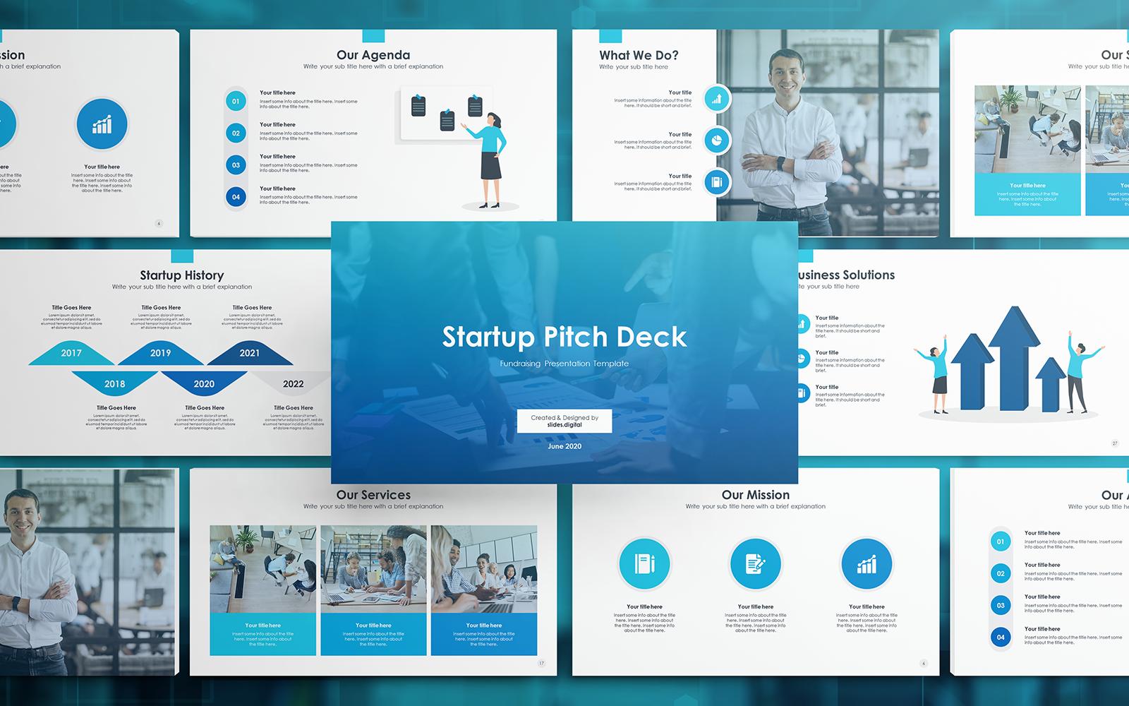 """Luxusní PowerPoint šablona """"Startup Pitch Deck"""" #136908"""
