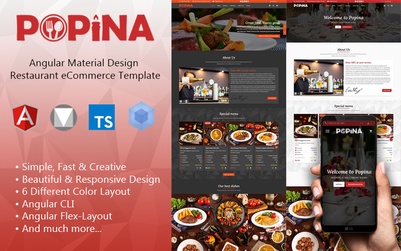 "Modello Siti Web Responsive #137975 ""Angular 11 Material Design Restaurant eCommerce Template + Admin Panel"""