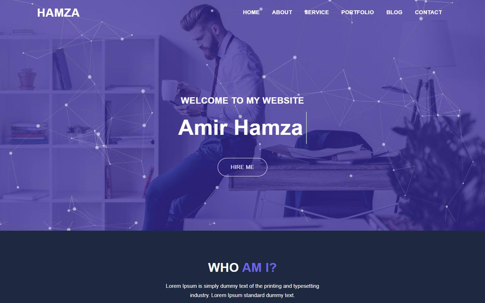 Hamza Creative Personal Portfolio Landing Page Template