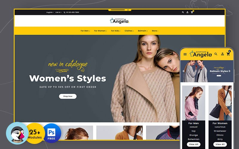 Angela Boutique - Multipurpose Responsive Tema PrestaShop №138614