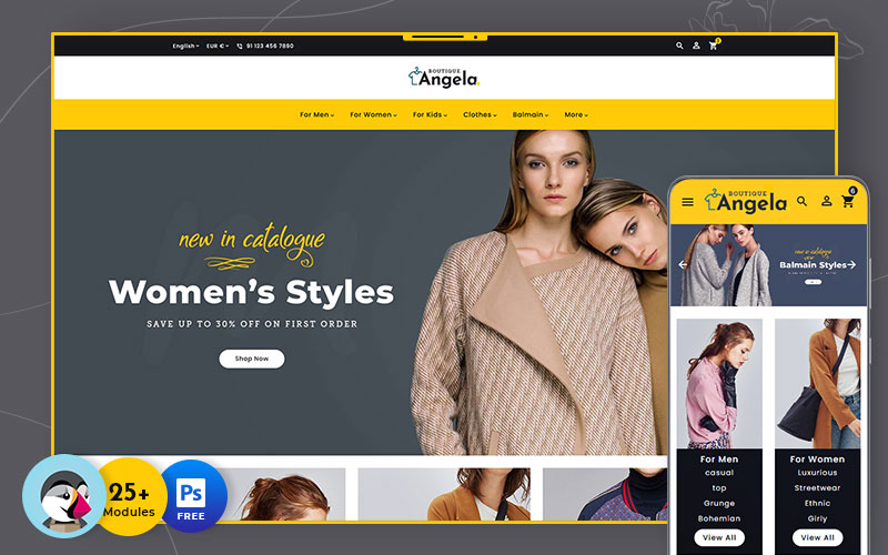 Responsivt Angela Boutique - Multipurpose Responsive PrestaShop-tema #138614