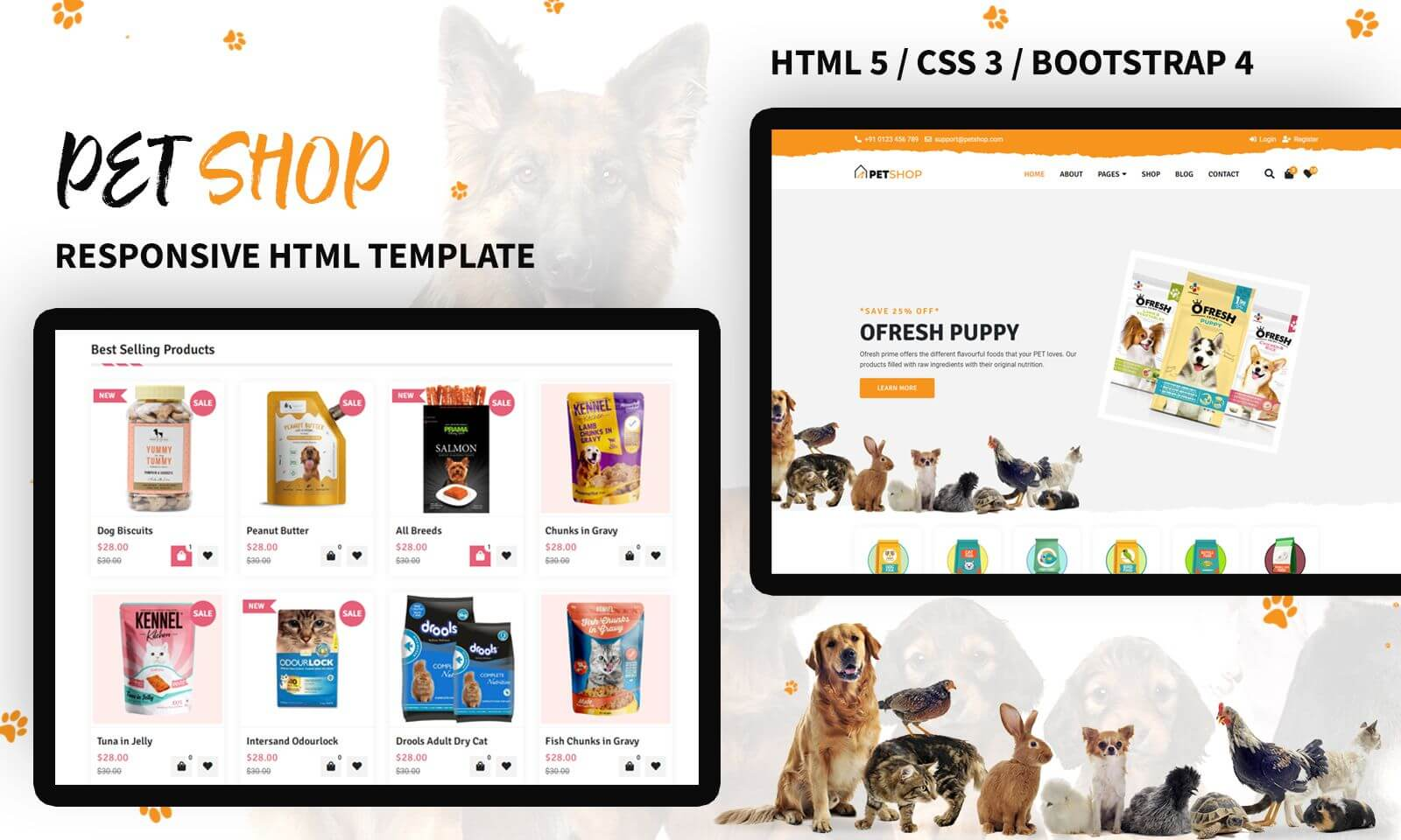 Responsivt Pet Store Responsive Hemsidemall #138611