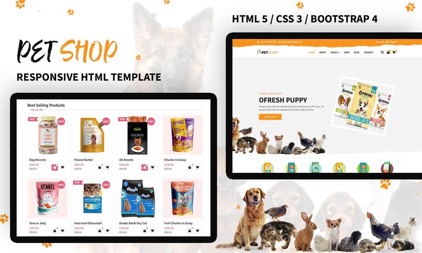 Reszponzív Pet Store Responsive Weboldal sablon 138611