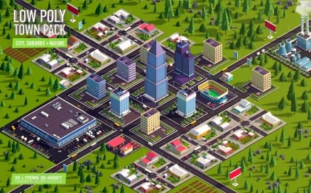 Cartoon Low Poly Town City Pack 3D Model