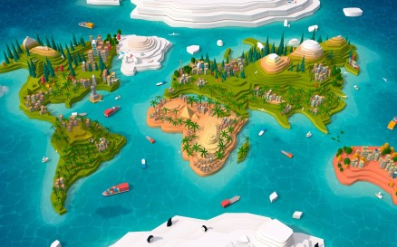 Cartoon Low Poly Earth World Map 2.0 Model