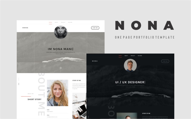 Responsivt Nona - Personal Portfolio Landing Page-mall #139949