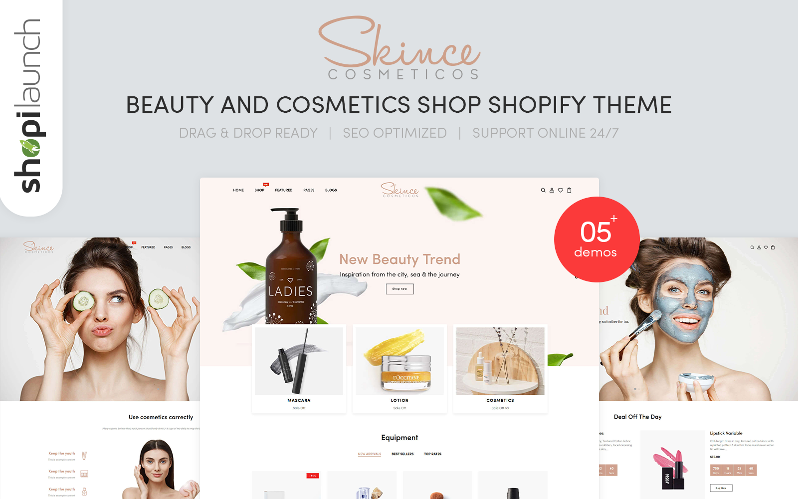 """Skince - Beauty & Cosmetics Shop Responsive"" 响应式Shopify模板 #139952"
