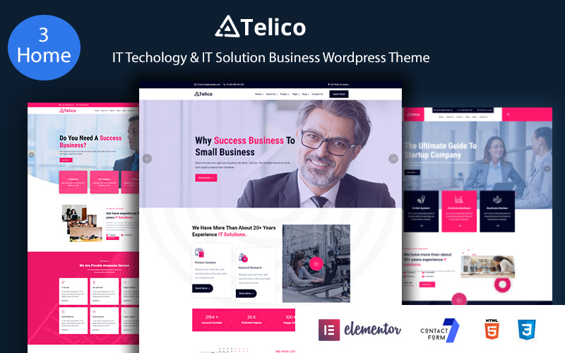 """""""Telico - IT Technology & IT Solutions Business"""" Responsive WordPress thema №139944"""
