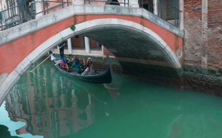Tourists Sailing in Gondola along the Water Canal in Venice, Italy vehicles - Stock Video