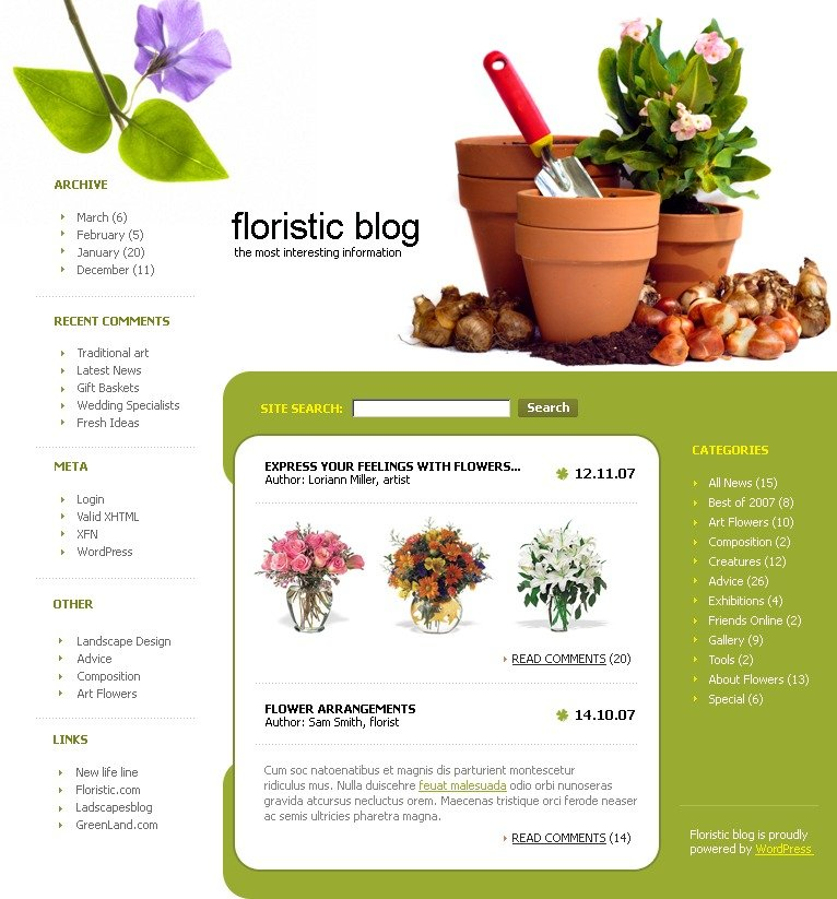 WordPress шаблон №14115 на тему цветы - скриншот