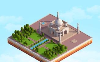 Cartoon Low Poly Taj Mahal Landmark