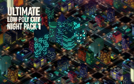 Ultimate Low Poly City Night Pack 1 3D Model