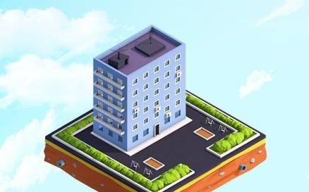 Cartoon Low Poly Residental House Model