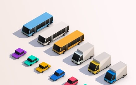 Cartoon Low Poly City Cars Pack Model