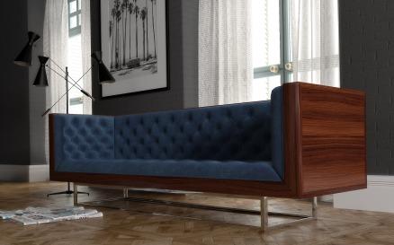 Milo Baughman Velvet Sofa Model