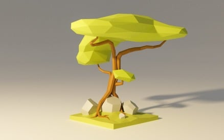 Low Poly Jungle Tree Model